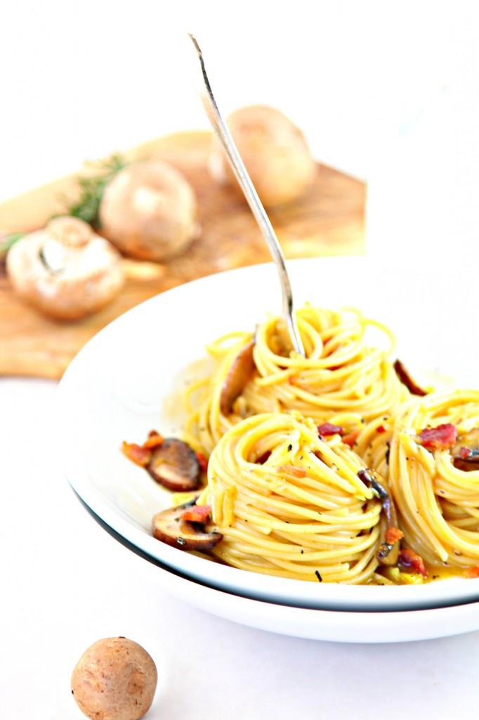 Mushroom and Leek Spaghetti Carbonara