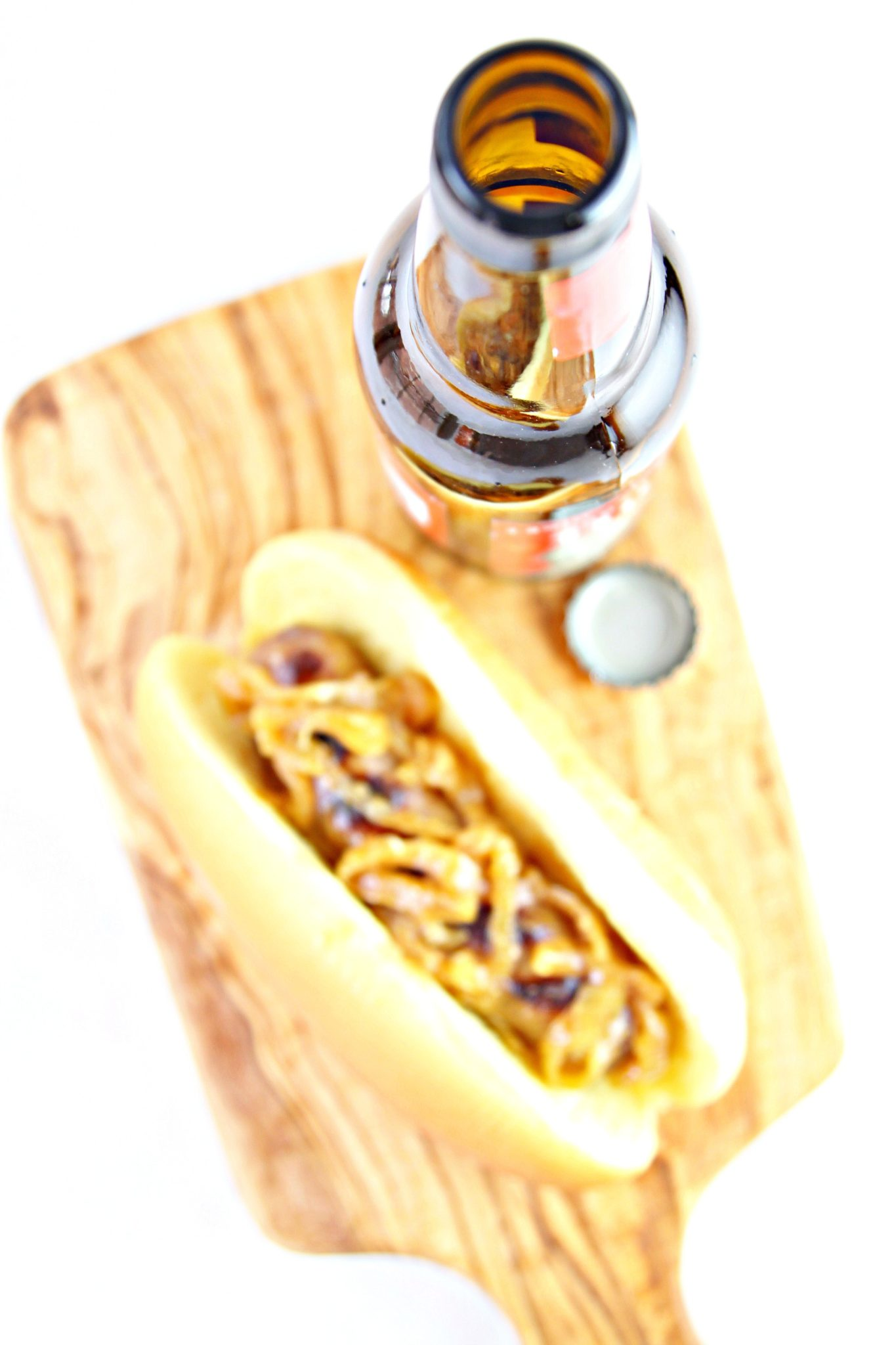 beer brats on serving board