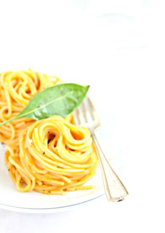 spaghetti nests on white plate with basil.