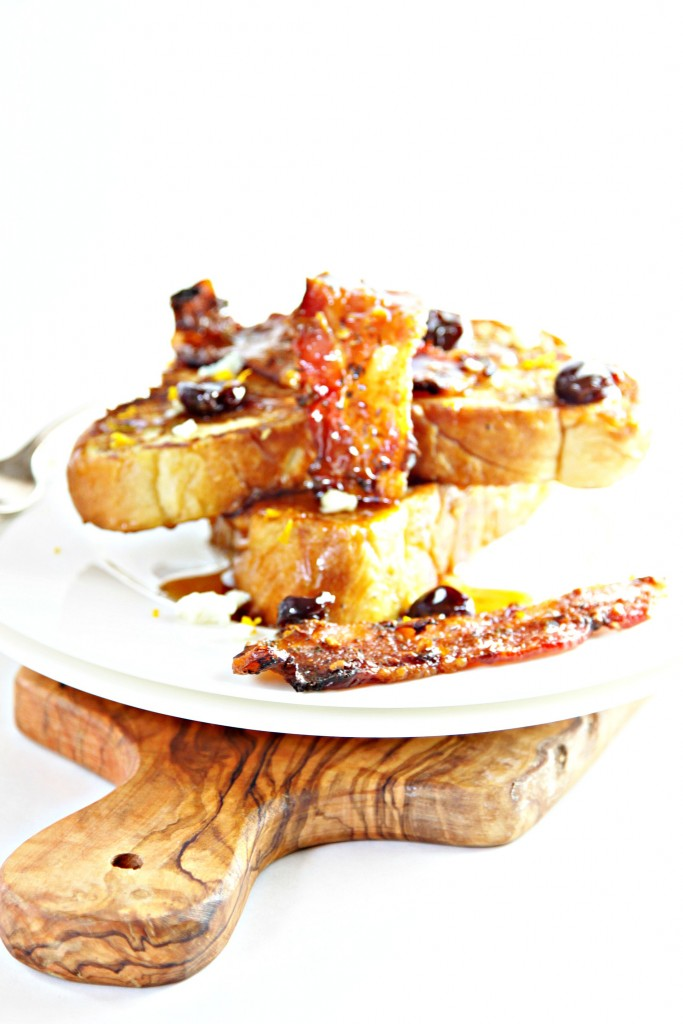 French Toast with Candied Bacon and Cherry Bourbon Syrup