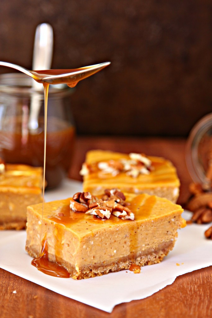Spiced Pumpkin Cheesecake With Caramel-Bourbon Sauce Recipe ...
