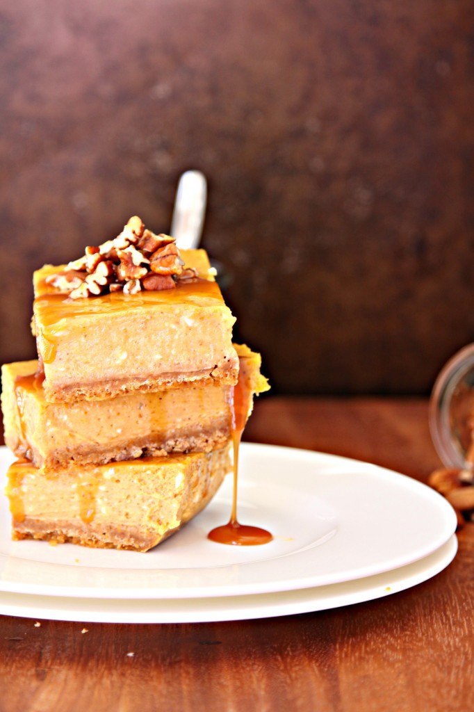 Pumpkin Cheesecake Bars with Whiskey Caramel Sauce