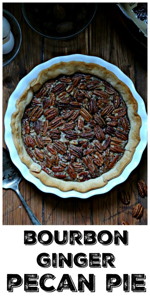 Bourbon Ginger Pecan Pie with server and pecans to side