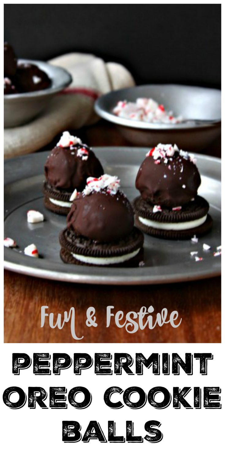 Fun and festive Peppermint OREO Cookie Balls are always a crowd favorite #OREO #dessert #christmascookies #cookies #cookieballs