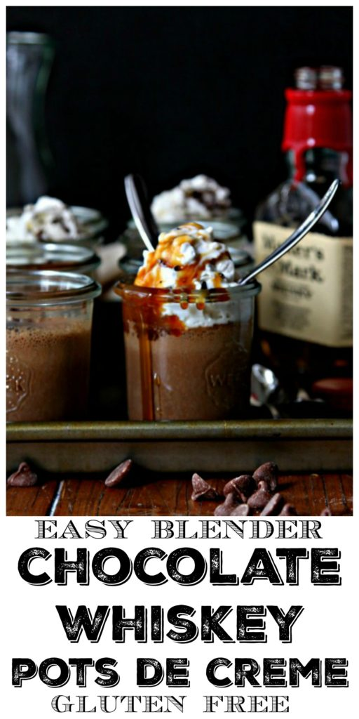 Chocolate Whiskey Pots de Creme in glass jars topped with whipped cream, whiskey caramel sauce. Bottle of whiskey to side.