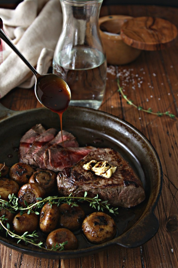 Steak with Sauteed Mushrooms and Chianti Caramel Sauce