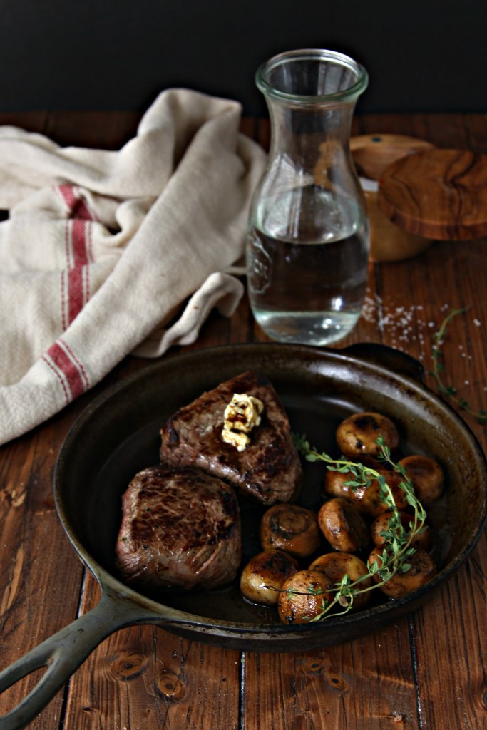 Steak and Herb Sauteed Mushrooms with Chianti Caramel Sauce