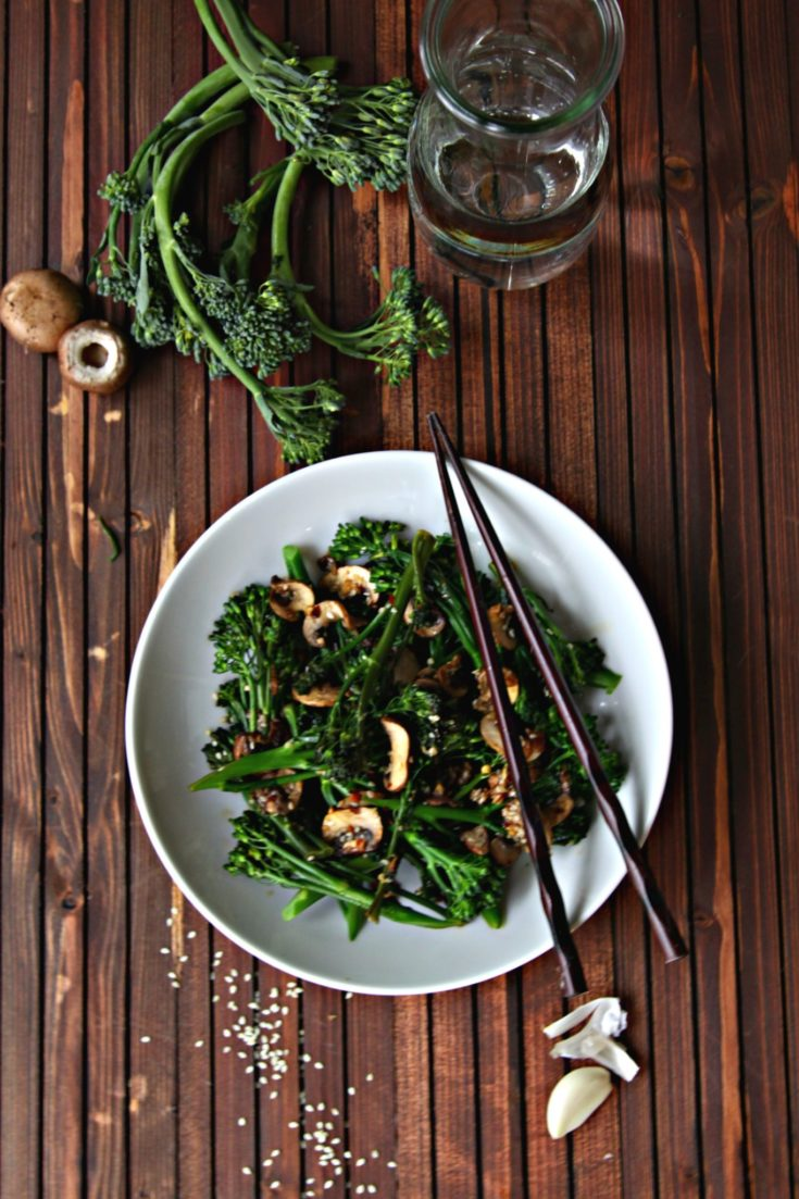 Broccolini Mushroom Salad #vegetarian #easyrecipe #mushrooms