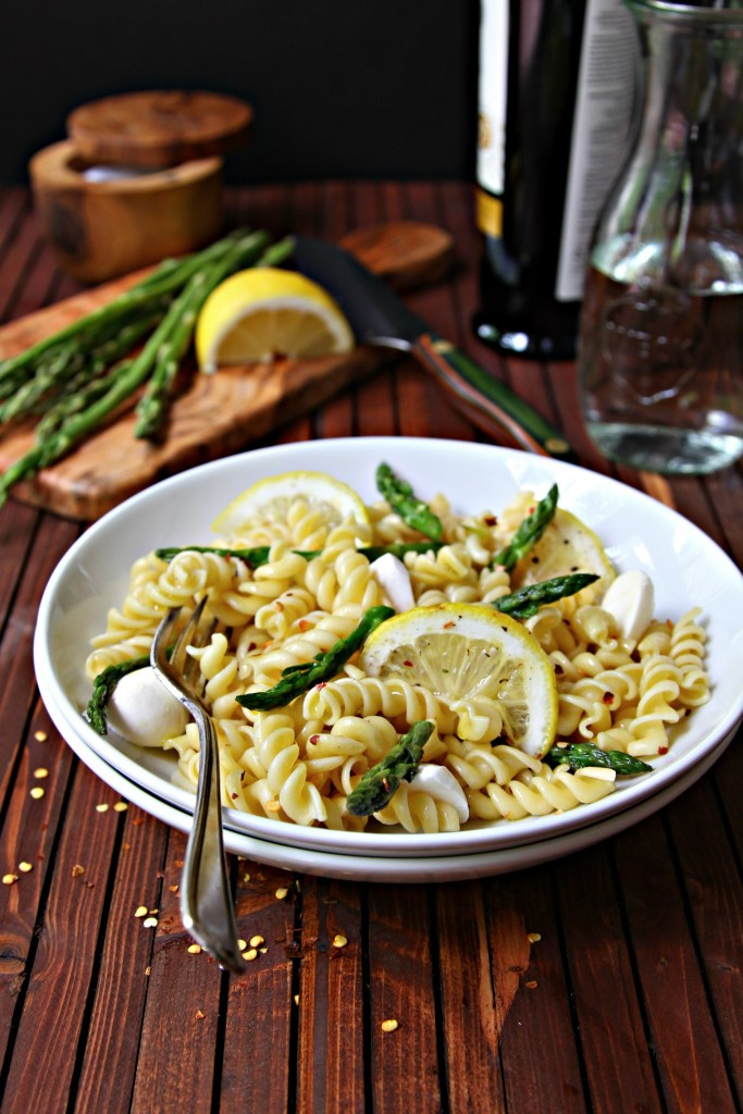 Rotini Pasta with Lemon and Asparagus in white bowl