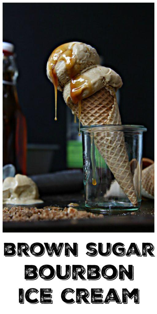 ice cream cone with brown sugar bourbon ice cream in a glass jar.
