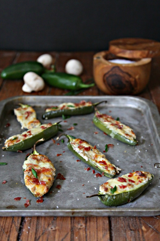 Turn up the heat with these Mushroom and Cheese Stuffed Jalapenos appetizers! #appetizer #jalapeno #stuffedjalapenos #fingerfoods #spicy #glutenfree