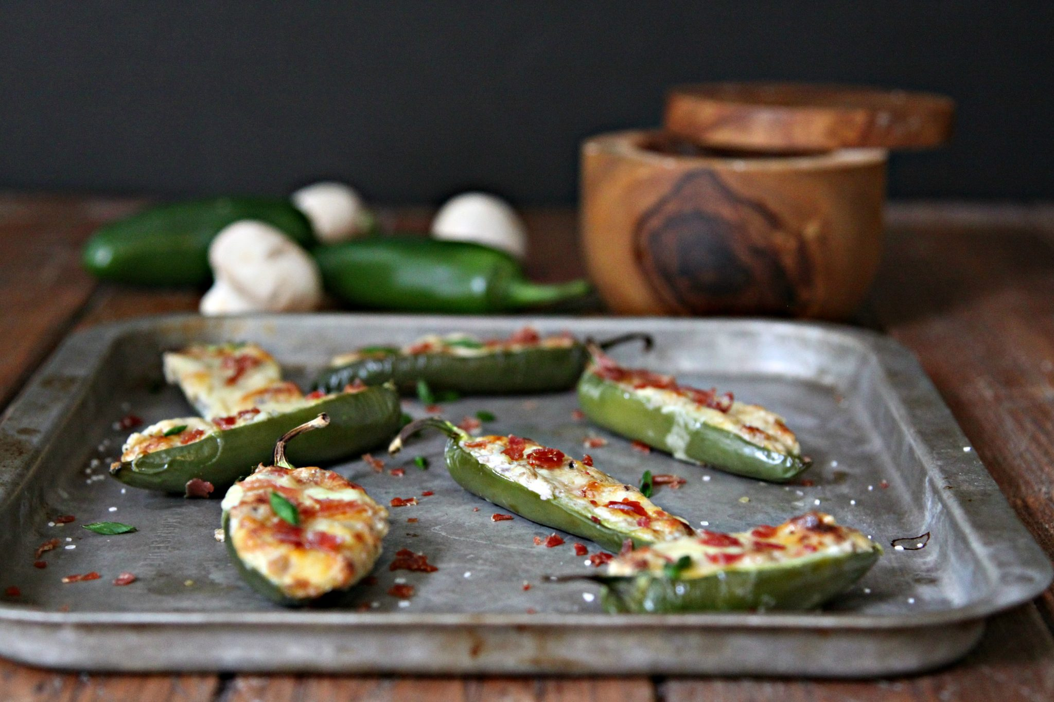 Turn up the heat with these Mushroom and Cheese Stuffed Jalapenos appetizers! #appetizer #jalapeno #stuffedjalapenos #fingerfoods #spicy