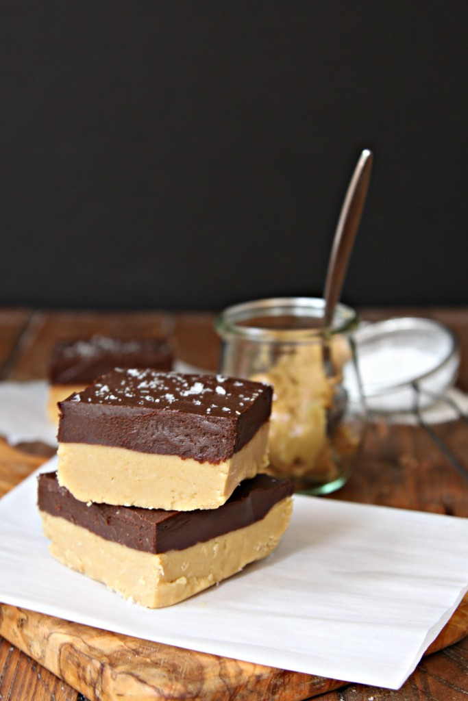 No Bake Chocolate Peanut Butter Layered Fudge