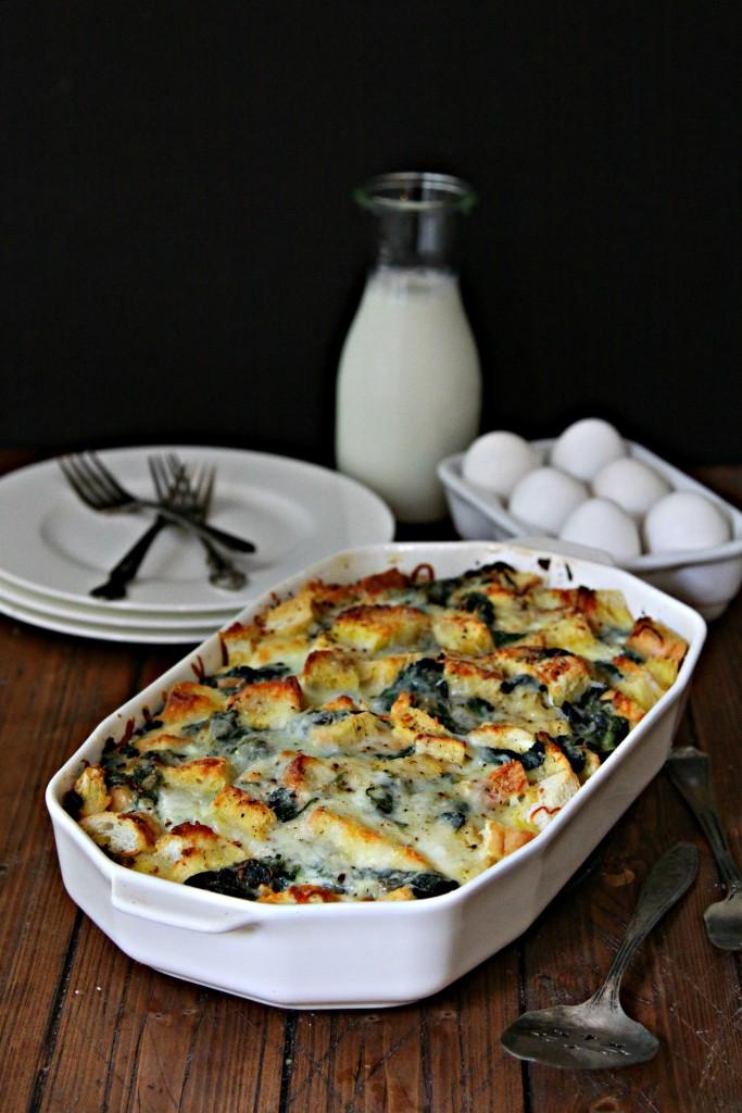 Make Ahead Spinach and Cheese Strata