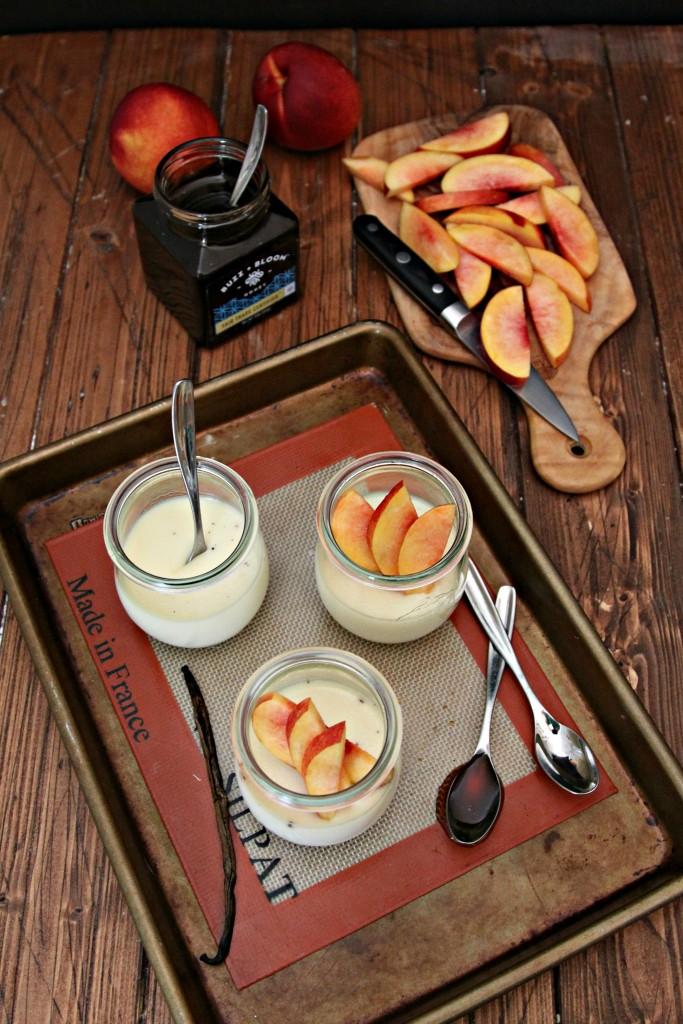 Vanilla Bean Panna Cotta with Nectarines and Honey