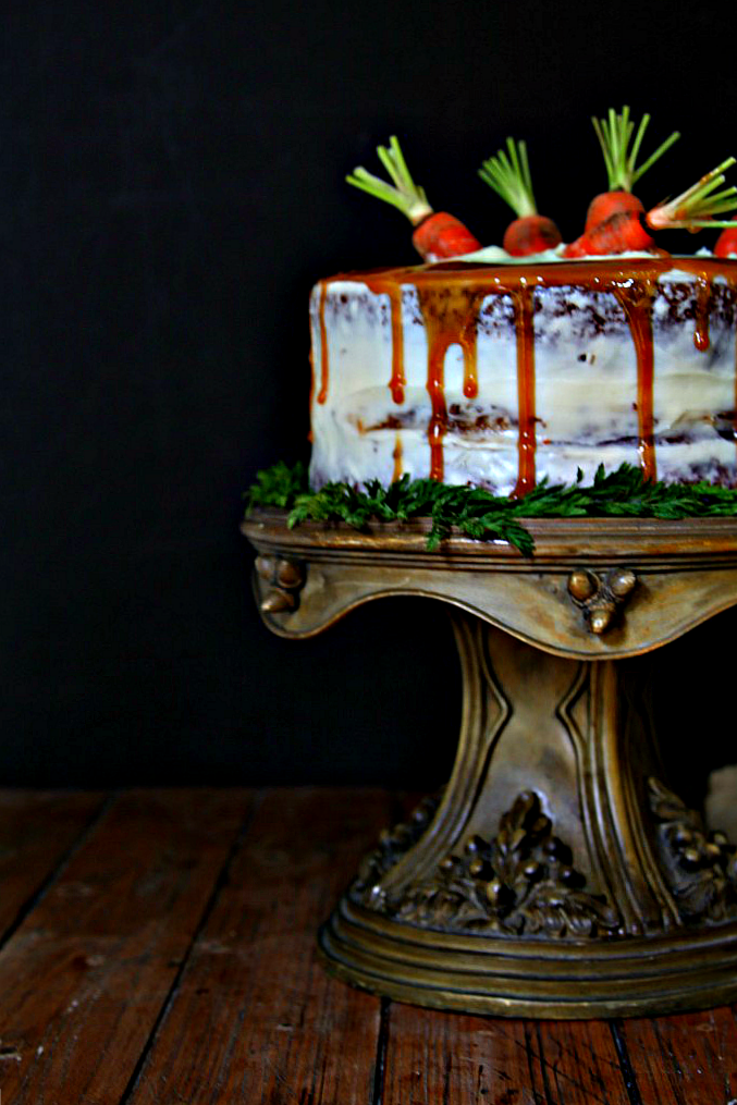 Old Fashioned Carrot Cake on cake stand.