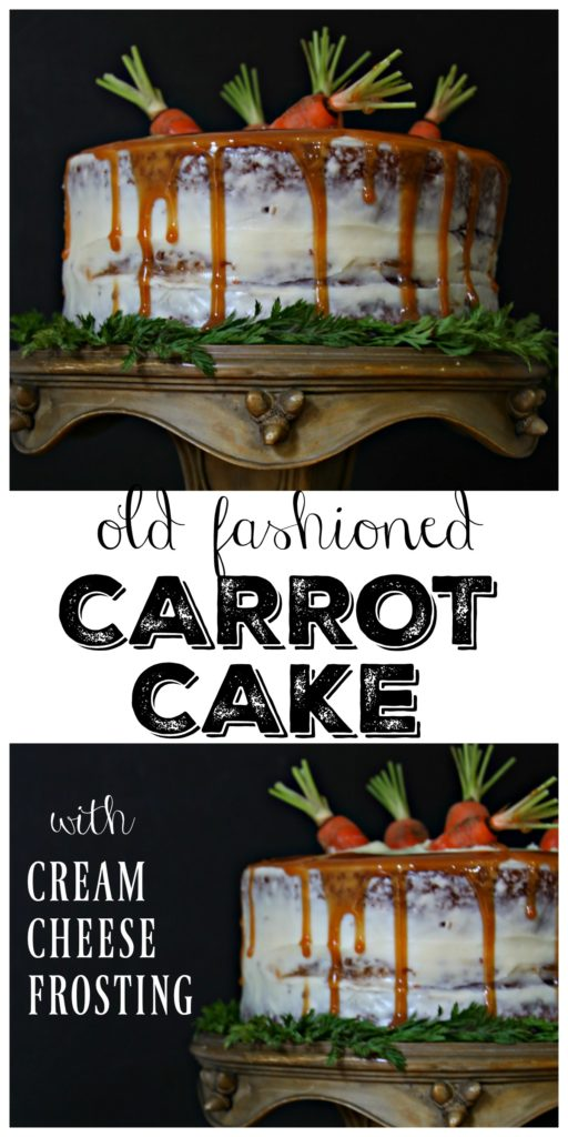 carrot cake with cream cheese frosting on green cake stand