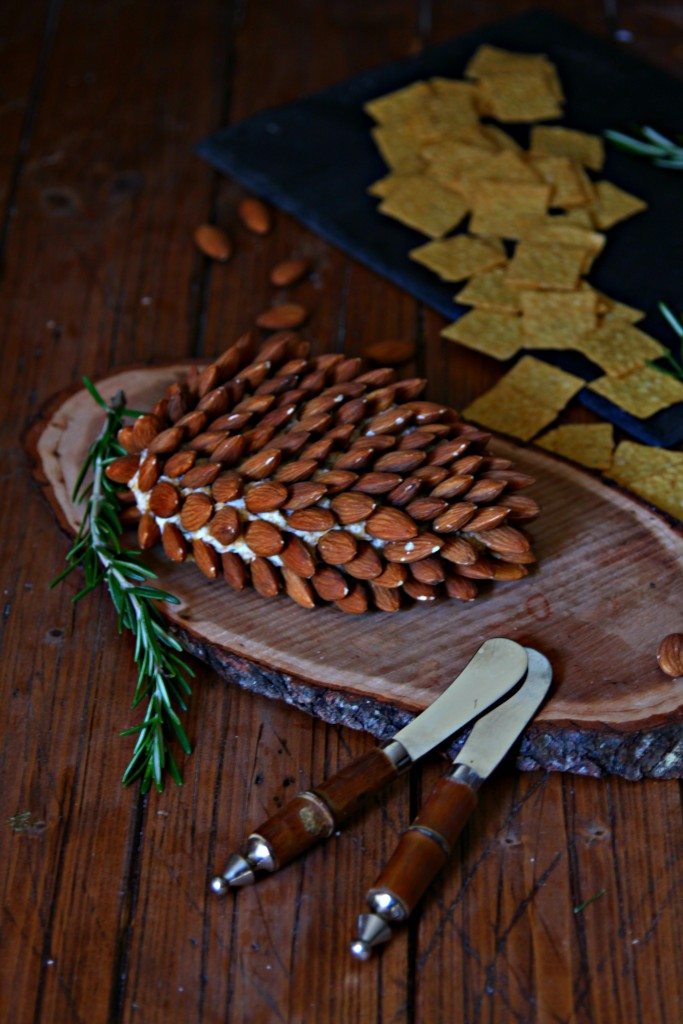 Pine Cone Shaped Holiday Cheese Ball