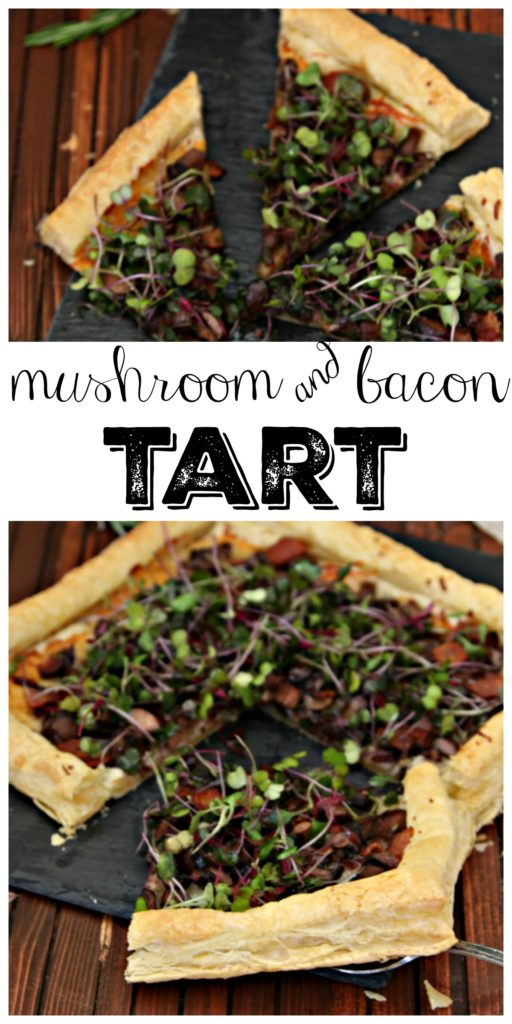 slices of mushroom bacon tart on cheese slate text overlay on top of mushroom tart on puff pastry appetizer