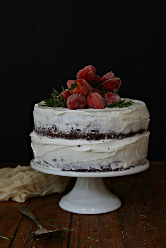 Naked Cake with Sugared Berries