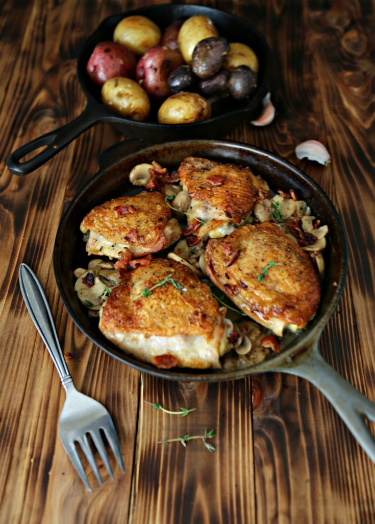 White Wine Braised Chicken with Bacon and Mushrooms