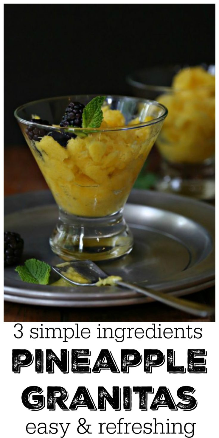 3 simple ingredients are all you need to make these easy & refreshing Pineapple Granitas #easyrecipe #pineapple #desserts #dessertfoodrecipes #dessertrecipes #fruits #vegetarianrecipes #glutenfreerecipes
