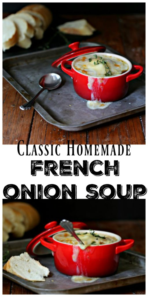 Pinterest Collage image. Top photo of French Onion Soup in a red ramekin on a baking sheet. Bread slices in background. Text overlay reads classic homemade French onion soup. Bottom photo red ramekin of French onion soup with spoon and slices of bread in background.