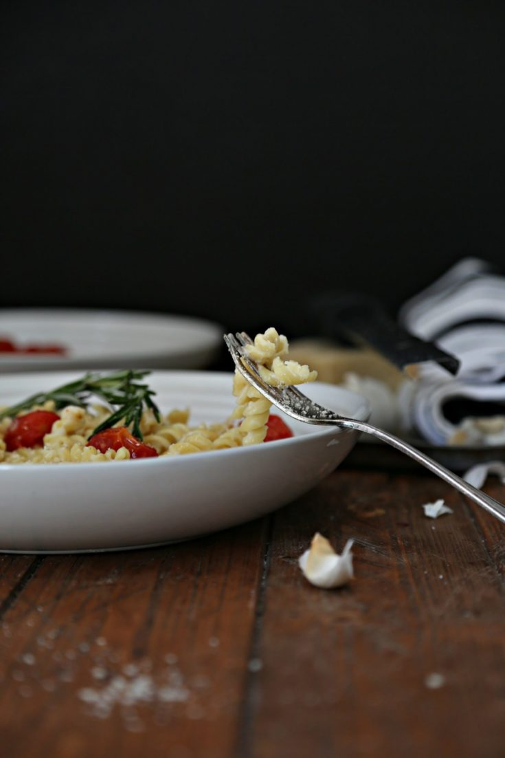 Creamy Garlic Sauce Rotini with Roasted Cherry Tomatoes