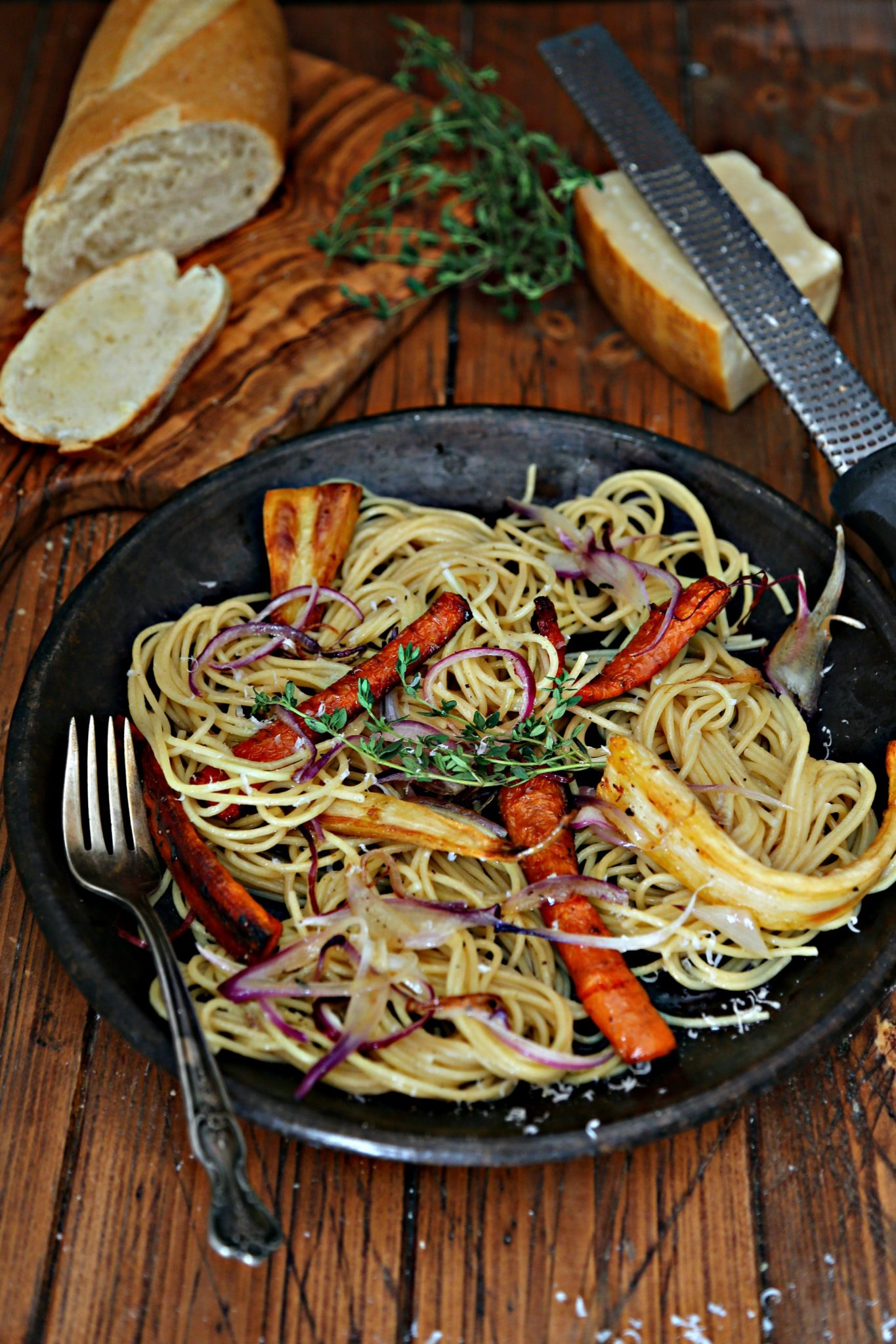 Spaghetti with Roasted Root Vegetables
