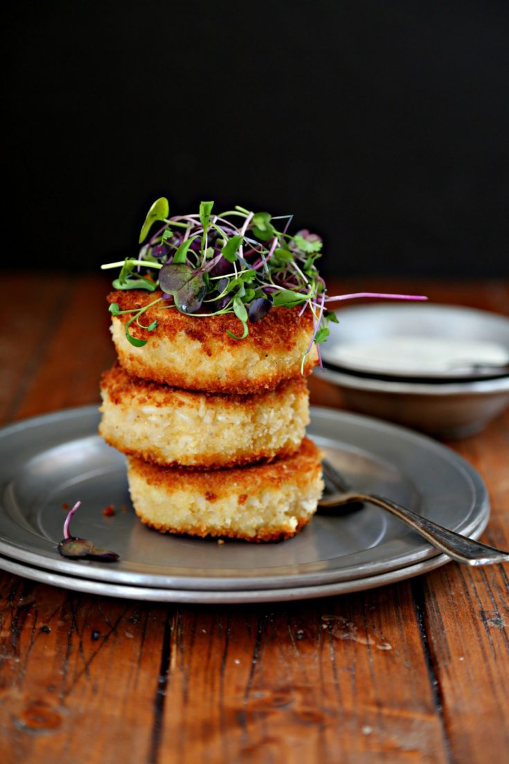 Pan Fried Risotto Cakes #appetizer #sidedish #easyrecipe #comfortfood #risotto #rice