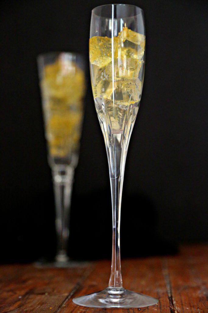 Champagne Jello Shots served in champagne flutes