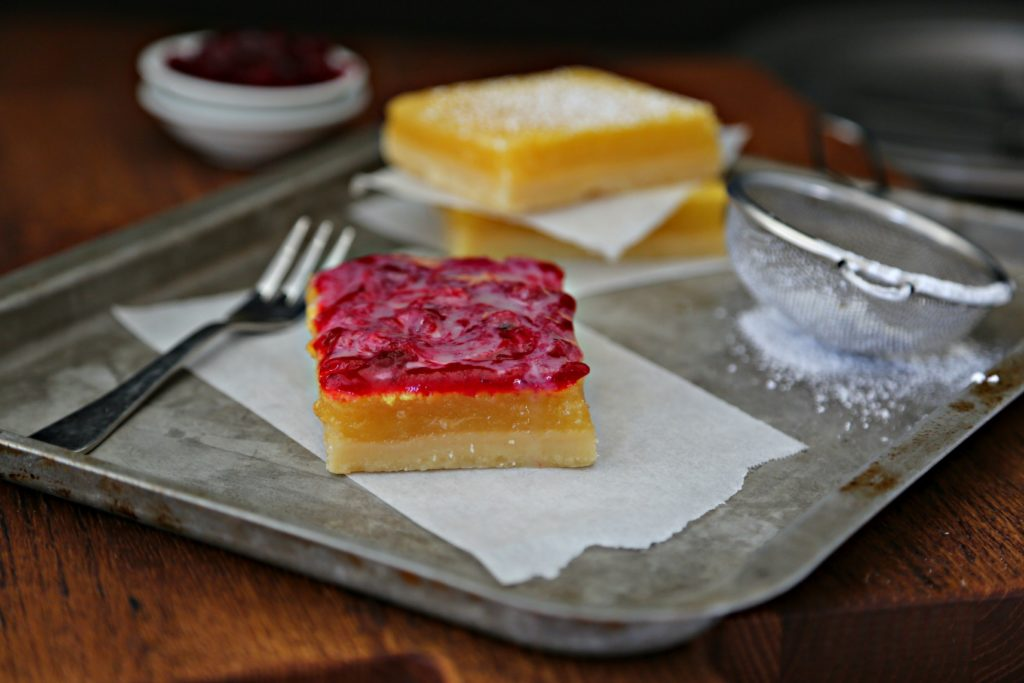 Lemon Cranberry Bars with White Chocolate Drizzle