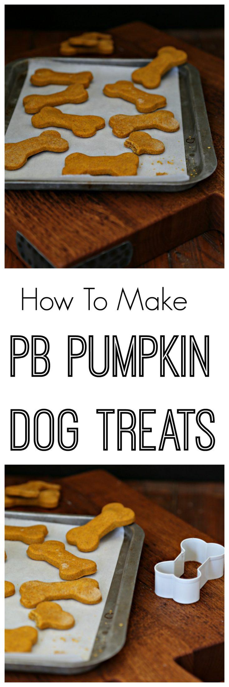 Your dogs will love these homemade peanut butter and pumpkin dog treats. #dogs #dogtreats #peanutbutter #pumpkin #dogbones