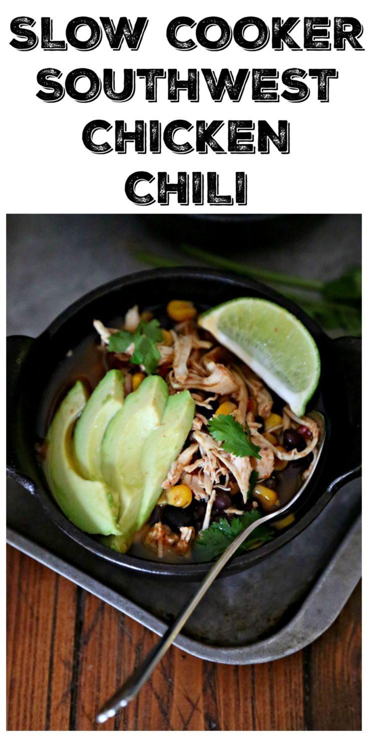 Slow Cooker Southwest Chicken Chili #easyrecipe #chicken #chickenrecipes #dinner #dinnerrecipes #slowcooker #easyrecipe