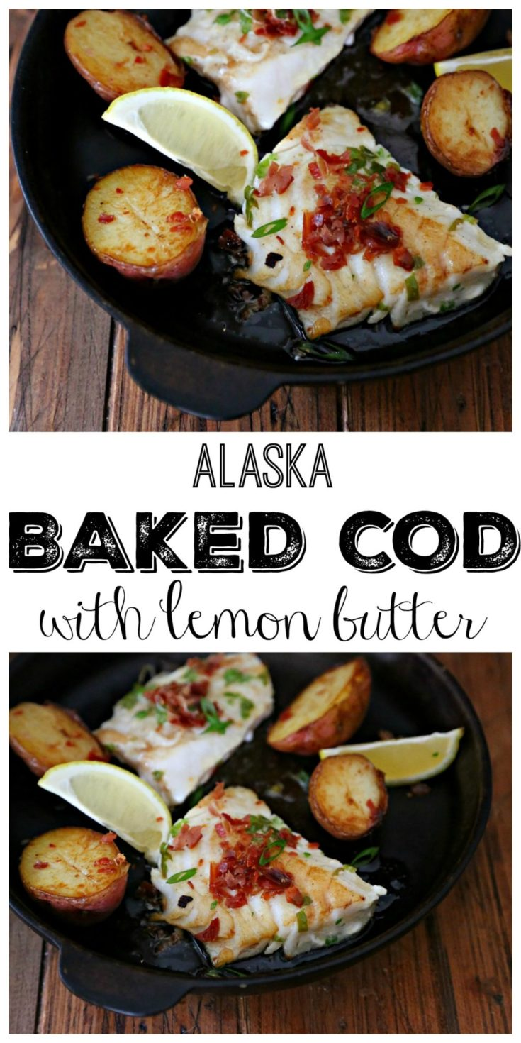 Alaska Cod With Lemon Butter cooked in a skillet #cod #seafood #fish #dinnerrecipe #easyrecipe #glutenfree #glutenfreerecipes #recipes
