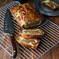 Banana Bread with Mascarpone Cheese Swirl
