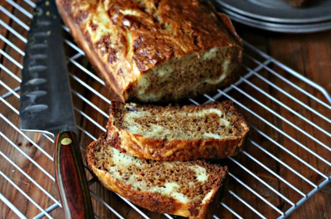 Banana Bread with Mascarpone Cheese Swirl