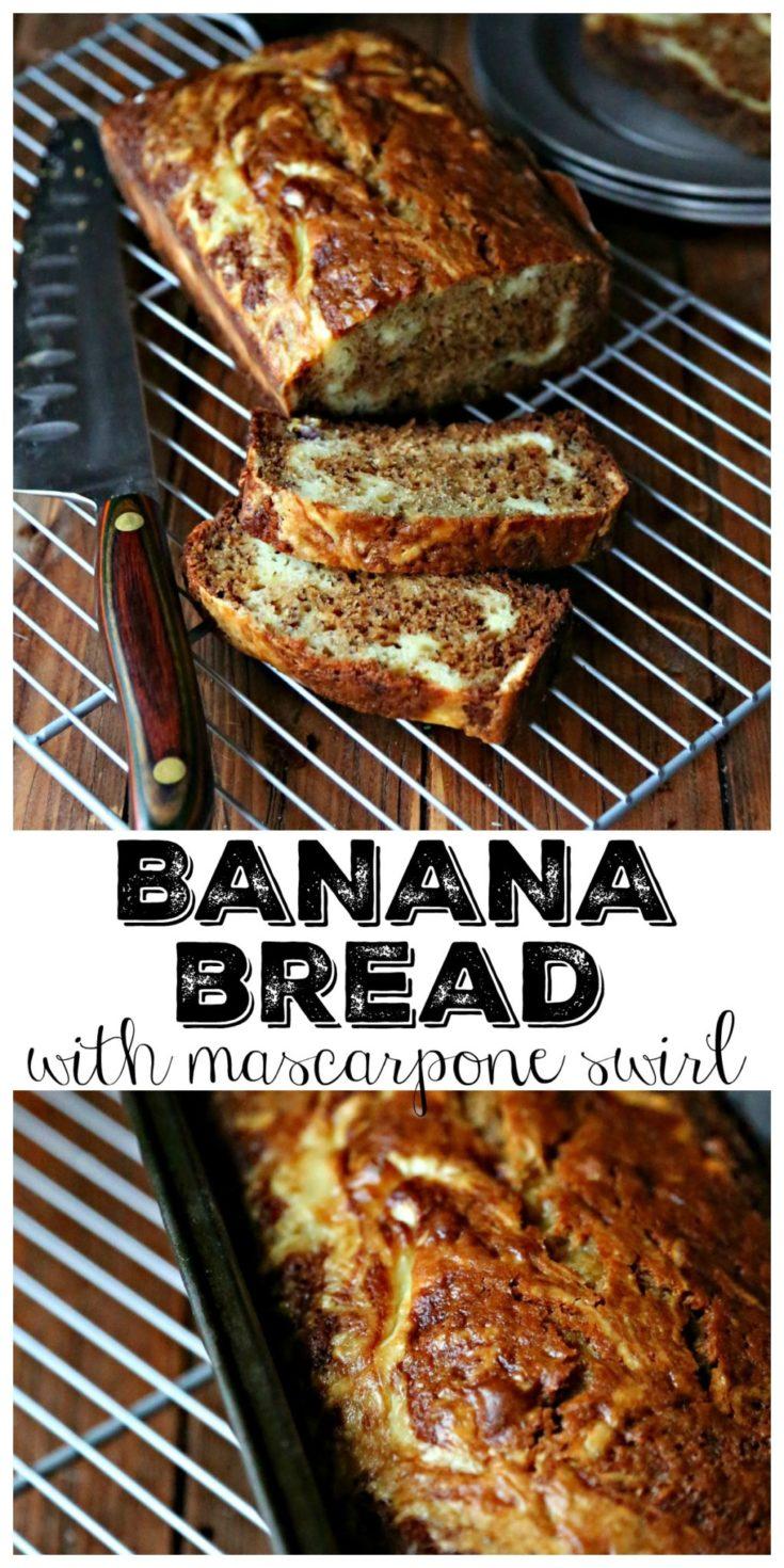 Banana Bread with Mascarpone Cheese Swirl #breakfast #easyrecipes #recipes #vegetarian