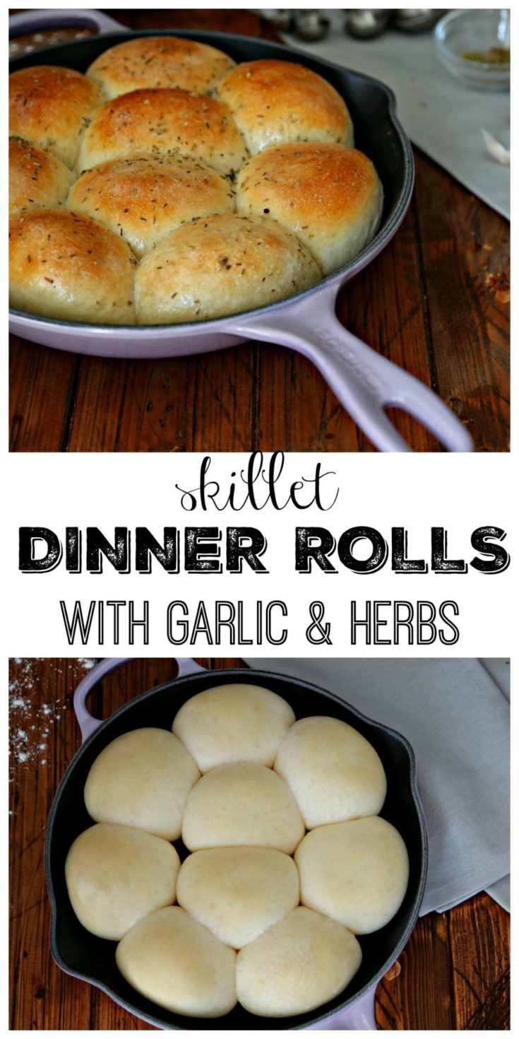 Skillet Garlic Herb Dinner Rolls #bread #recipes #vegetarian #comfortfood #skillet