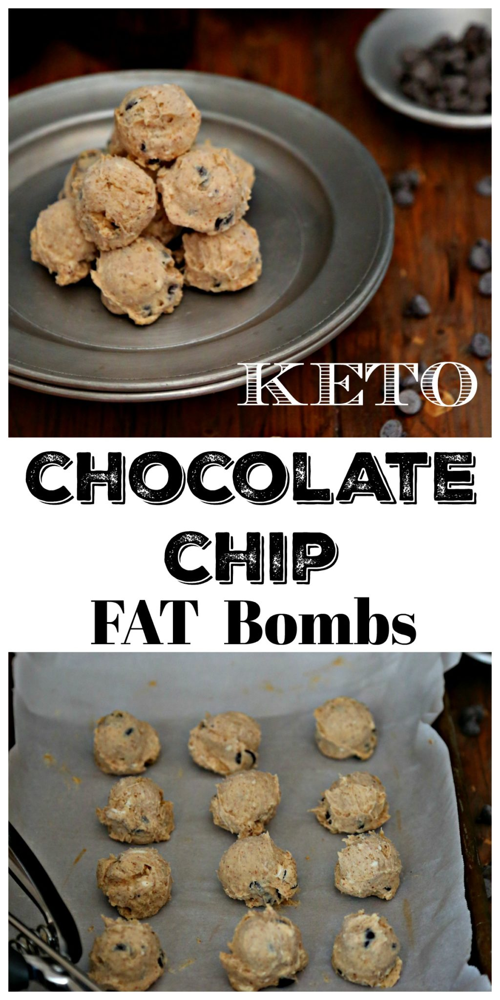 These no bake cookie keto chocolate chip cookie dough snacks will satisfy your sweet tooth any time of the day or night.  #keto #fatbombs #cookiedough #cookiedoughfatbombs #ketorecipes #ketosnacks #lowcarb