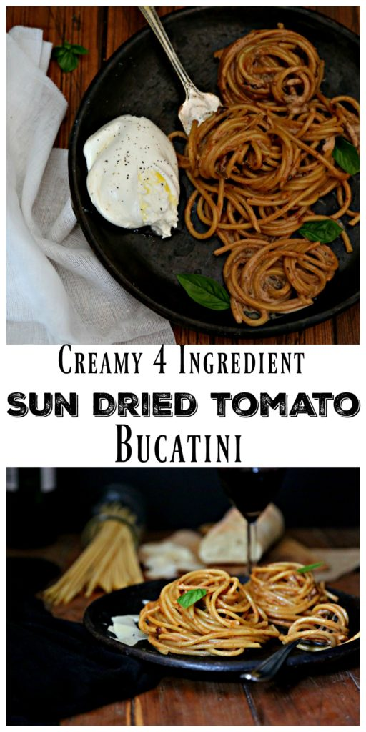 4 ingredient Bucatini with Creamy Sun Dried Tomato Sauce on brown plate in a collage