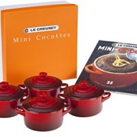 Le Creuset Set of 4 Mini Cocottes with Cookbook, Cerise (Cherry Red)