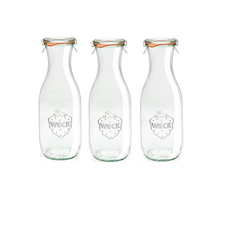 Weck 766 Juice Jars, 35.9 Ounce - Set of 3