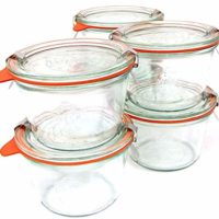 Weck 741 .25 Liter Mold Jars - 6 In A Set, With Lids, 6 Rings & 12 Clamps