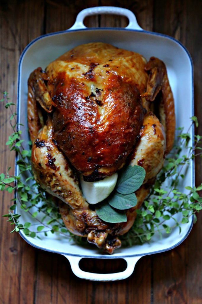 Mayonnaise Herb Roated Turkey in roaster with herbs