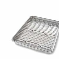 USA Pan 1604CR Quarter Sheet Baking Bakeable Nonstick Cooling Rack, Metal