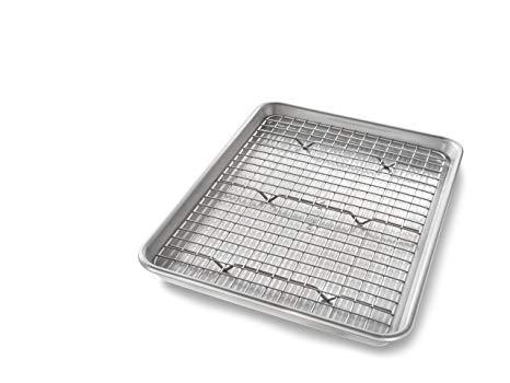 USA Pan 1604CR Quarter Sheet Baking Bakeable Nonstick Cooling Rack, Metal