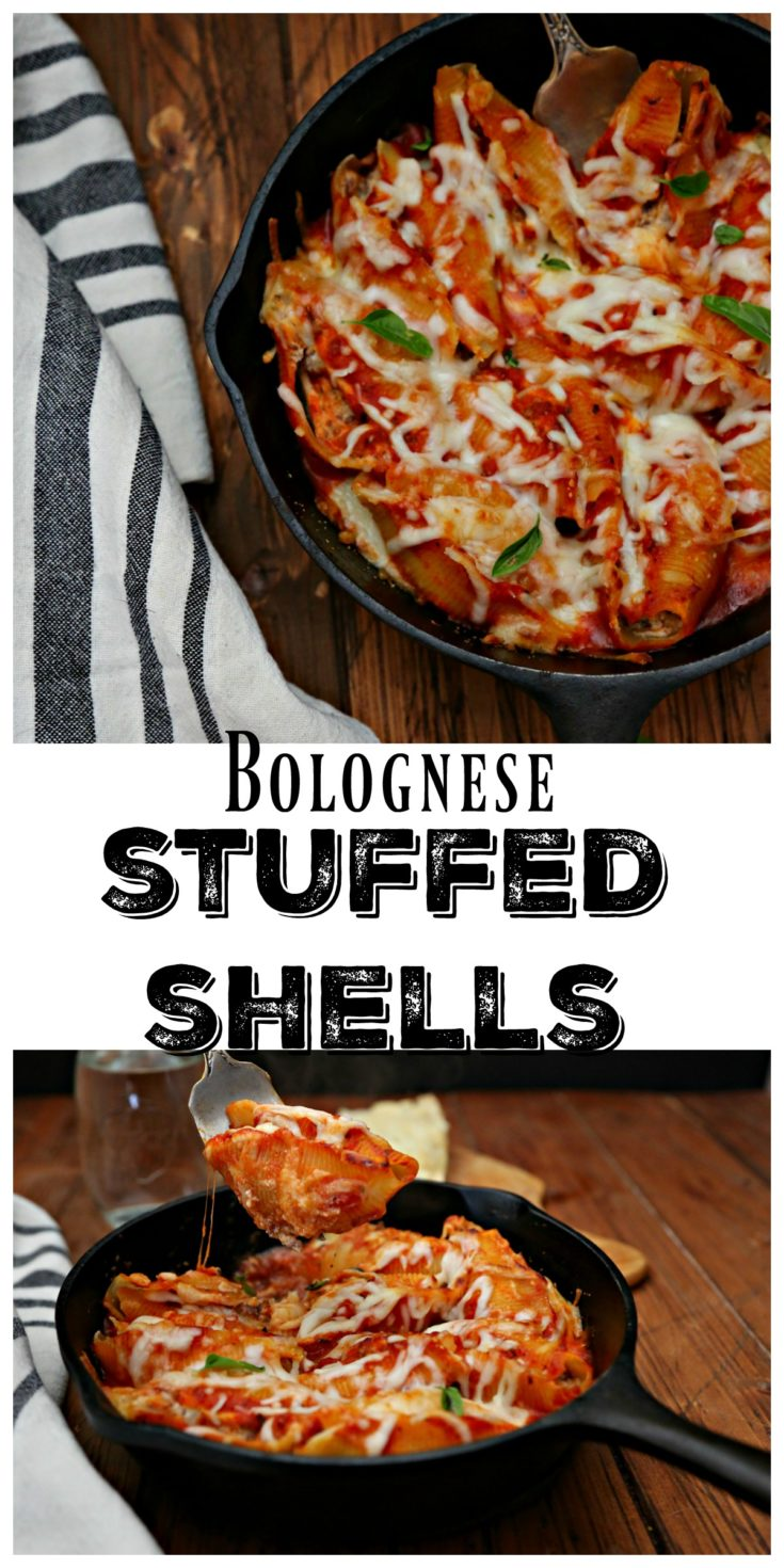Bolognese Stuffed Shells. The perfect way to use up leftover Bolognese sauce. Shells can be made in advance and baked right before you're ready to eat making it easy for weeknight meals or entertaining guests. #pasta #shells #stuffedshells #bakedpasta #Italian