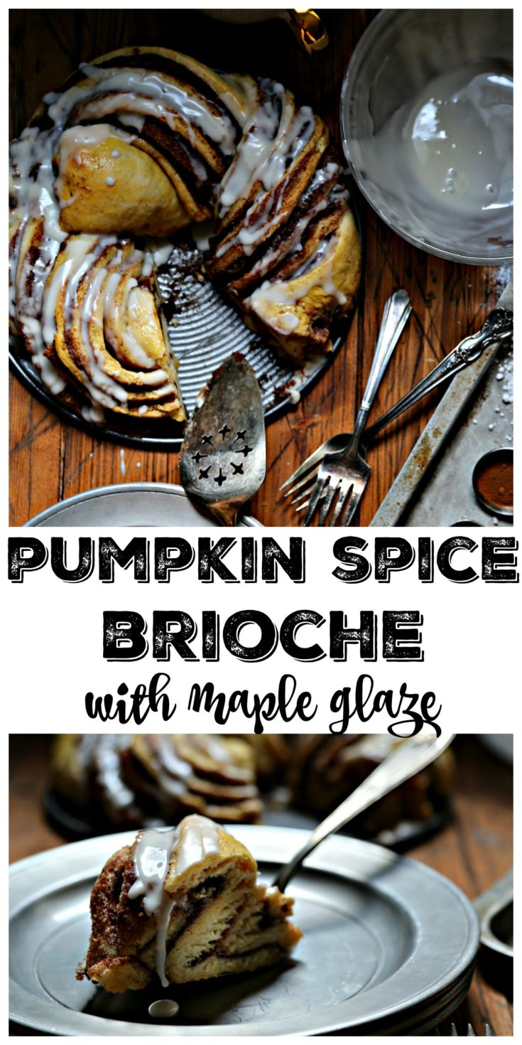 Pumpkin Spice Brioche with Maple Glaze is a decadent fall breakfast treat #brioche #breakfast #pumpkinspice #maple #pumpkin