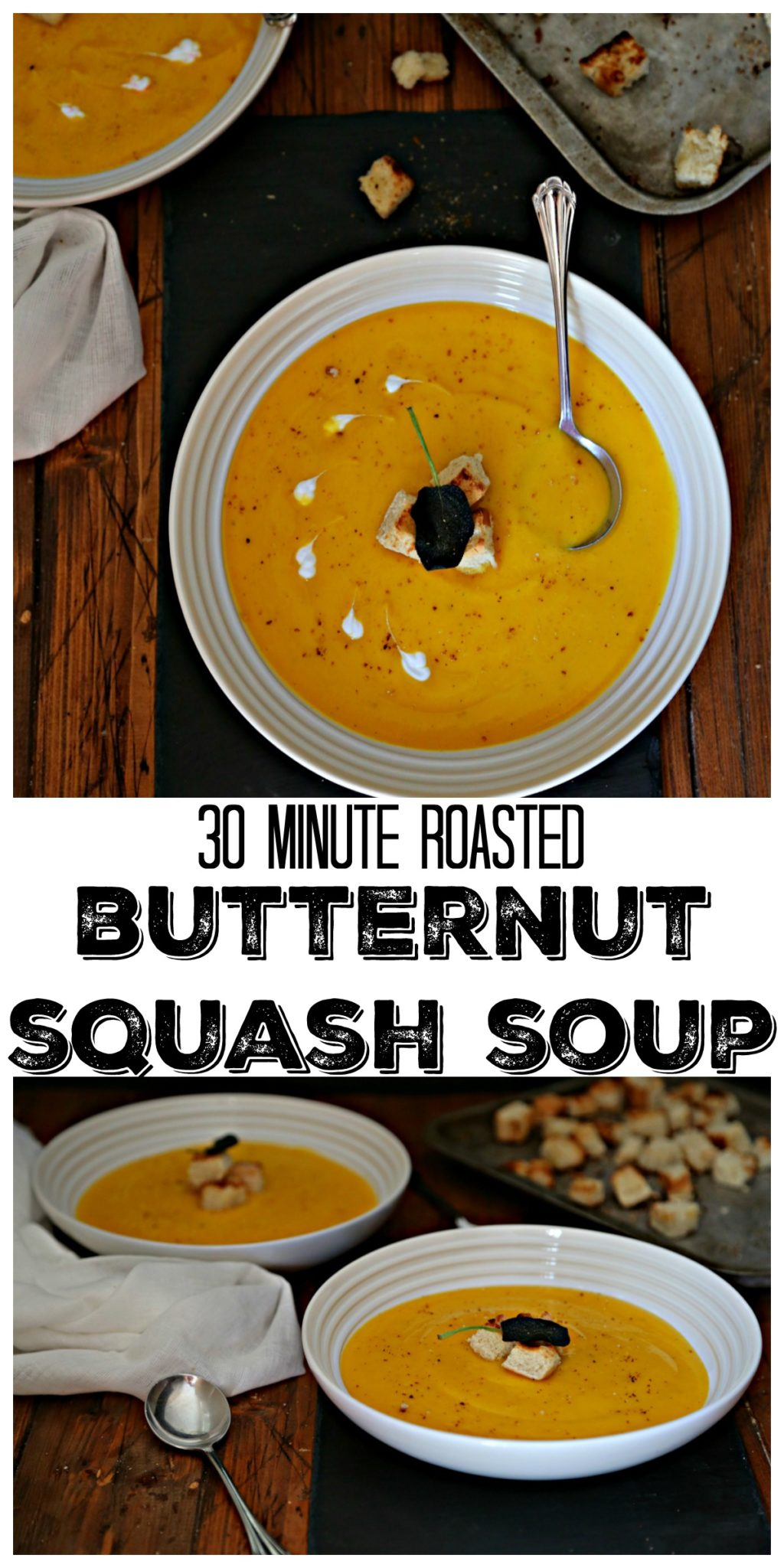 30 minutes of roasting and a whirl around your blender you'll be on your way to enjoying this Roasted Butternut Squash Soup #soup #vegetarian #vegan